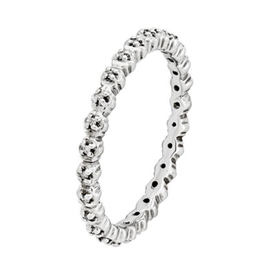 Personally Stackable Sterling Silver Diamond-Accent Ring