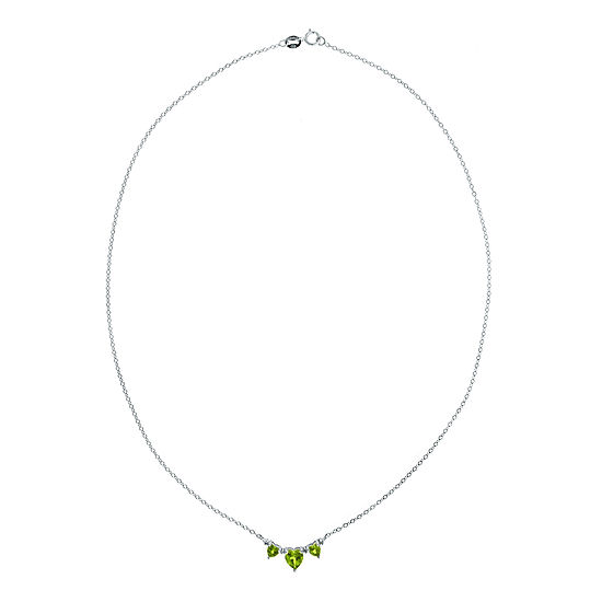 Genuine Peridot Diamond Accent Heart Shaped 3 Stone Sterling Silver Necklace