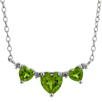 Genuine Peridot & Diamond-Accent Heart-Shaped 3-Stone Sterling Silver Necklace