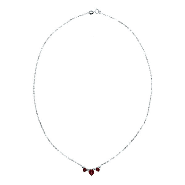 Genuine Garnet & Diamond-Accent Heart-Shaped 3-Stone Sterling Silver Necklace