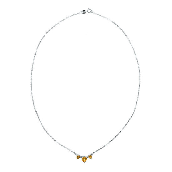 Genuine Citrine & Diamond-Accent Heart-Shaped 3-Stone Sterling Silver Necklace