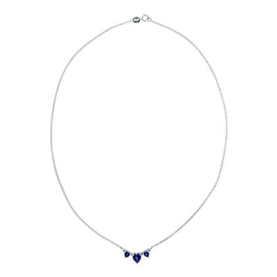 Lab-Created Blue Sapphire Heart-Shaped 3-Stone Sterling Silver Necklace