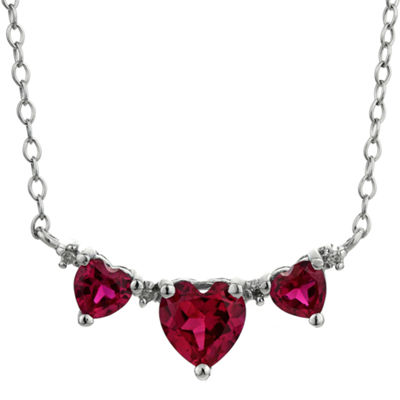 Lab-Created Ruby Heart-Shaped 3-Stone Sterling Silver Necklace