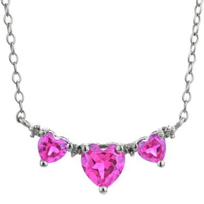 Lab-Created Pink Sapphire Heart-Shaped 3-Stone Sterling Silver Necklace