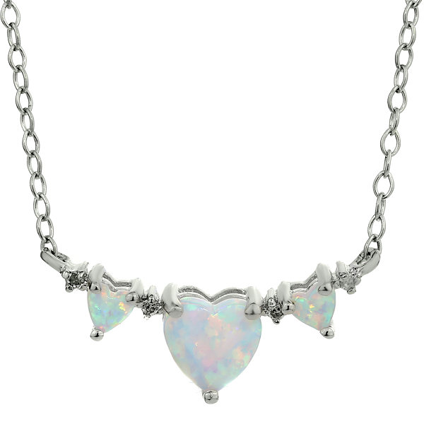 Lab-Created Opal Heart-Shaped 3-Stone Sterling Silver Necklace
