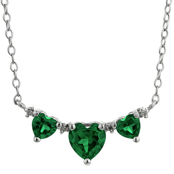 Lab-Created Emerald & Diamond-Accent Heart-Shaped 3-Stone Necklace