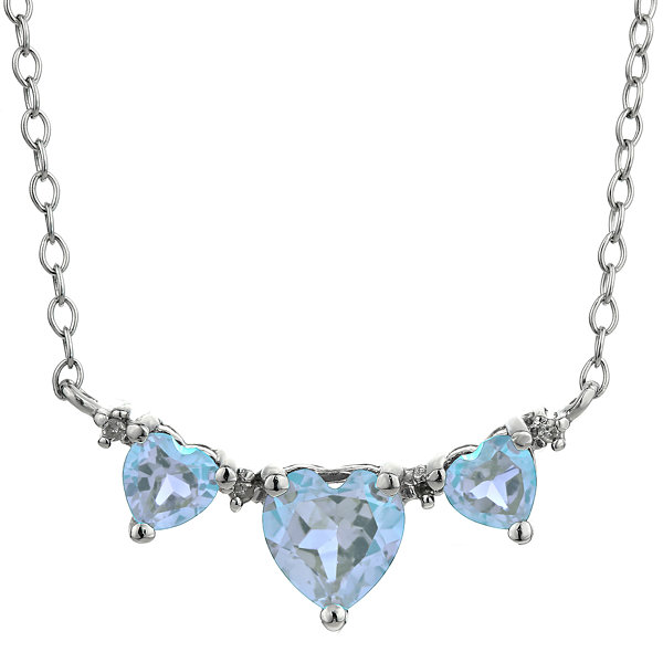 Simulated Aquamarine & Diamond-Accent Heart-Shaped 3-Stone Necklace