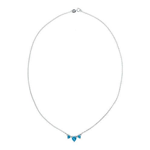 Genuine BlueTopaz & Diamond-Accent Heart-Shaped 3-Stone Sterling Silver Necklace
