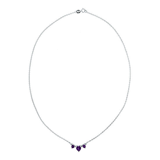 Genuine Amethyst Heart-Shaped 3-Stone Sterling Silver Necklace