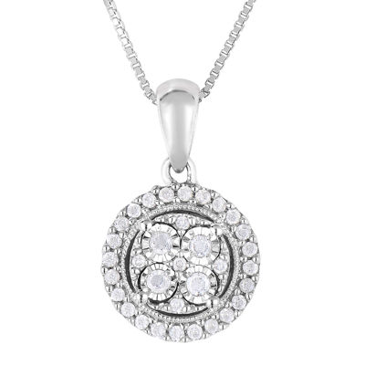 TruMiracle® 1/4 CT. T.W. Genuine Diamond Sterling Silver Round Pendant Necklace