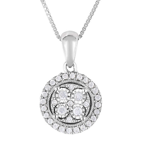 Trumiracle sterling silver 14cttw diamond pendant tw diamond sterling silver round pendant necklace aloadofball Gallery
