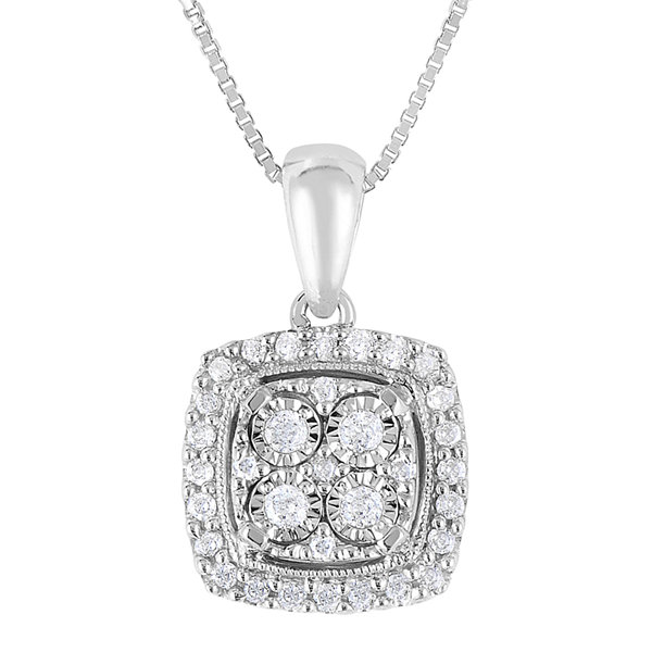 Trumiracle sterling silver 14cttw diamond pendant 1 tw diamond sterling silver square pendant necklace aloadofball Image collections
