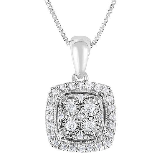 TruMiracle® 1/4 CT. T.W. Genuine Diamond Sterling Silver Square Pendant Necklace