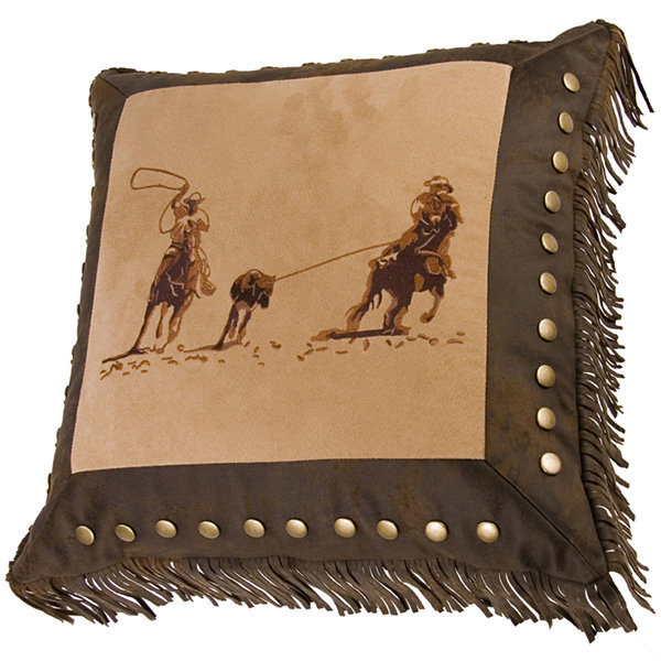 HiEnd Accents Barbwire Team Roper Square Decorative Pillow