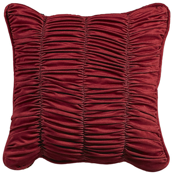 HiEnd Accents Lorenza Shirred Velvet Square Decorative Pillow