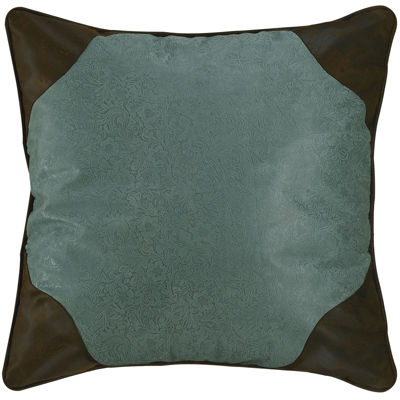 HiEnd Accents Cheyenne Turquoise Faux-Leather Euro Sham