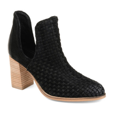 Journee Signature Womens Kevona Booties Stacked Heel Slip-on