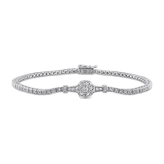 Diamond Accent Lab Created White Sapphire Sterling Silver 7 Inch Tennis Bracelet