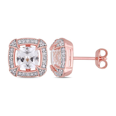 1/5 CT. T.W. Lab Created White Sapphire 18K Rose Gold Over Silver 10.8mm Stud Earrings