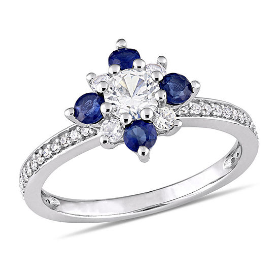 Womens 1/6 CT. T.W. Lab Created White Sapphire 14K White Gold Cocktail Ring