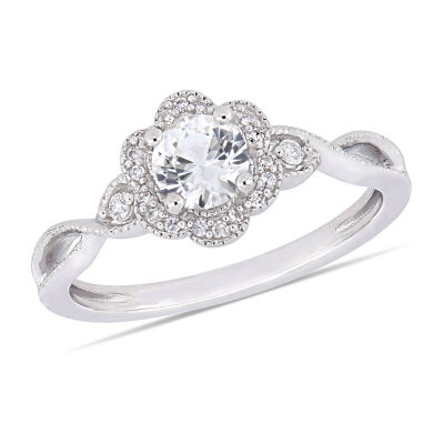 Womens 1/10 CT. T.W. Lab Created White Sapphire Cocktail Ring