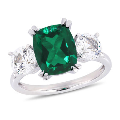 Womens Lab Created Green Emerald 10K White Gold Cocktail Ring
