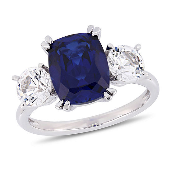 Womens Lab Created Blue Sapphire 10k White Gold Cocktail Ring