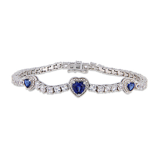 Lab Created Blue Sapphire Sterling Silver Heart 7 Inch Tennis Bracelet