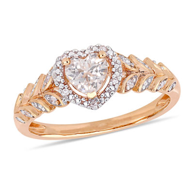 Womens Diamond Accent Lab Created White Sapphire 10K Rose Gold Heart Cocktail Ring