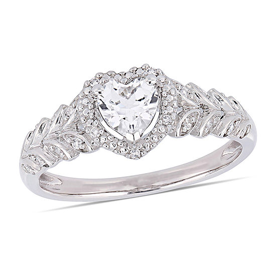 Womens Diamond Accent Lab Created White Sapphire 10K White Gold Heart Cocktail Ring