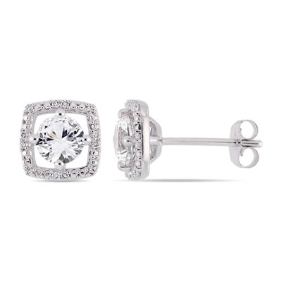 Diamond Accent Lab Created White Sapphire 10K White Gold Ear Pins
