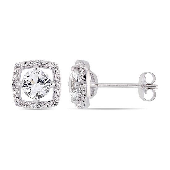 Diamond Accent Lab Created White Sapphire 10K White Gold Ear Pins