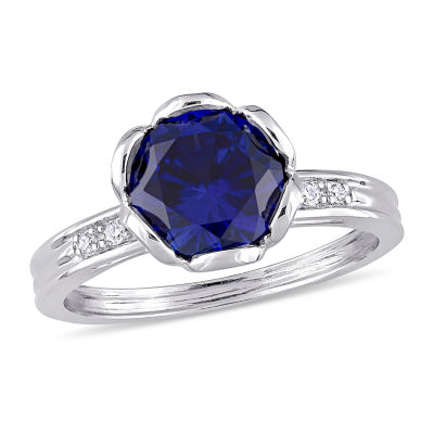 Womens 1/8 CT. T.W. Lab Created Blue Sapphire 10K White Gold Cocktail Ring