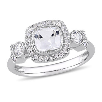 Womens 1/6 CT. T.W. Lab Created White Sapphire 10K White Gold Cocktail Ring