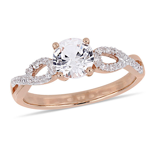 Womens 1/10 CT. T.W. Lab Created White Sapphire 10K Rose Gold Cocktail Ring