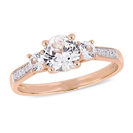 Womens Diamond Accent Lab Created White Sapphire 10K Rose Gold Cocktail Ring