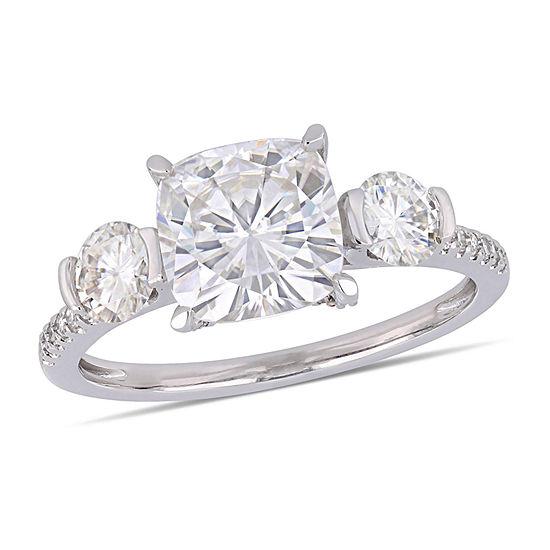 Womens 1 6 Ct Tw White Moissanite 14k White Gold Engagement Ring