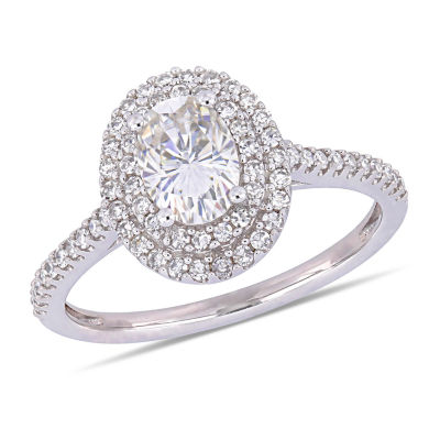 Womens 1/3 CT. T.W. White Moissanite 14K White Gold Engagement Ring