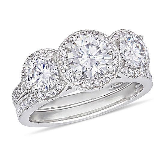 Womens 3 8 Ct Tw White Moissanite 14k White Gold Bridal Set