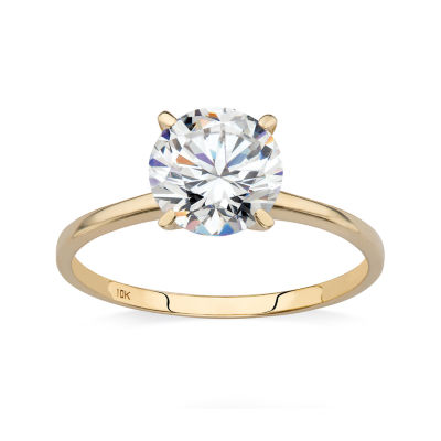 Diamonart Womens 2 CT. T.W. White Cubic Zirconia 10K Gold Engagement Ring
