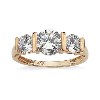 Diamonart Womens 2 1/2 CT. T.W. White Cubic Zirconia 10K Gold Engagement Ring