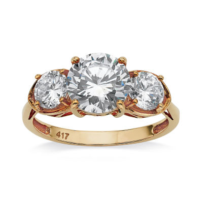 Diamonart Womens 3 CT. T.W. White Cubic Zirconia 10K Gold Engagement Ring