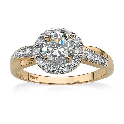 Diamonart Womens 1 1/2 CT. T.W. White Cubic Zirconia 10K Gold Engagement Ring
