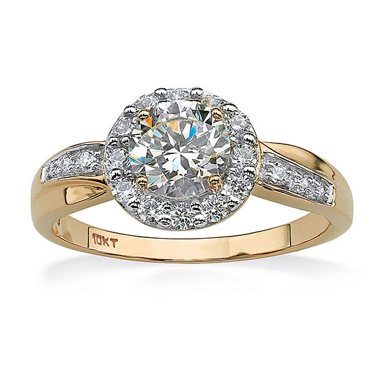 DiamonArt® Womens 1 1/2 CT. T.W. White Cubic Zirconia 10K Gold Engagement Ring