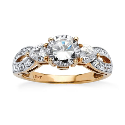 Diamonart Womens 2 1/4 CT. T.W. White Cubic Zirconia 10K Gold Engagement Ring