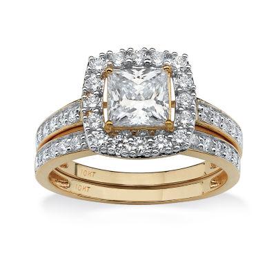 Diamonart Womens 1 7/8 CT. T.W. White Cubic Zirconia 10K Gold Bridal Set