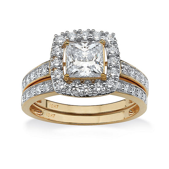 Diamonart Womens 1 7/8 CT. T.W. White Cubic Zirconia 10K Gold Bridal Set