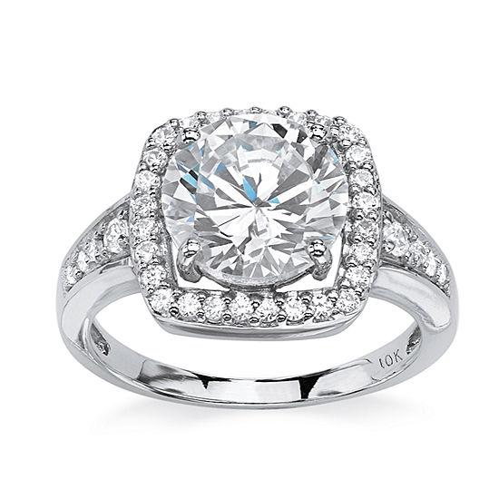 Diamonart Womens 3 1/4 CT. T.W. White Cubic Zirconia 10K White Gold Engagement Ring