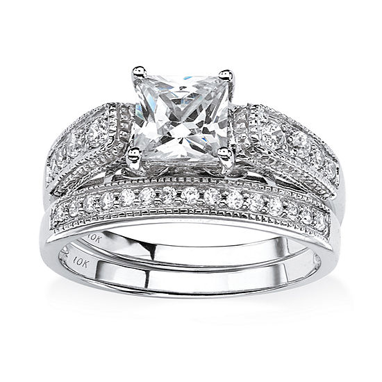 Diamonart Womens 1 1/2 CT. T.W. White Cubic Zirconia 10K White Gold Bridal Set