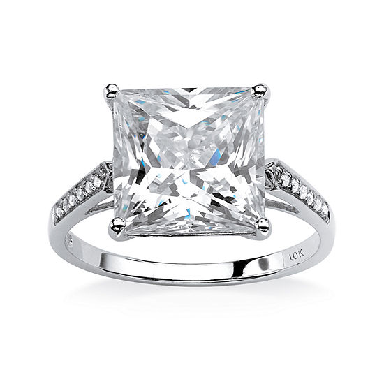 Diamonart Womens 3 1/4 CT. T.W. White Cubic Zirconia 10K White Gold Engagement Ring